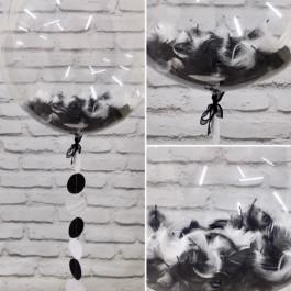 Опция Шар Bubble с ч/б перьями и гирляндой – фото 1