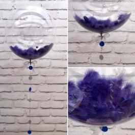 Опция Шар Bubble с синими перьями и гирляндой – фото 1